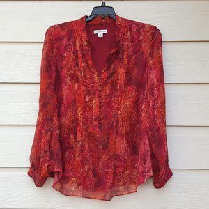 Women's Top Blouse front pintuck Red Floral Print